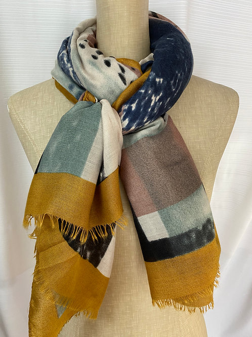 Abstract Print Scarf (E-Yellow)