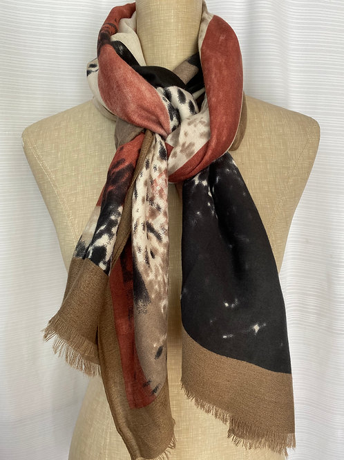 Abstract Print Scarf (E-Brown)