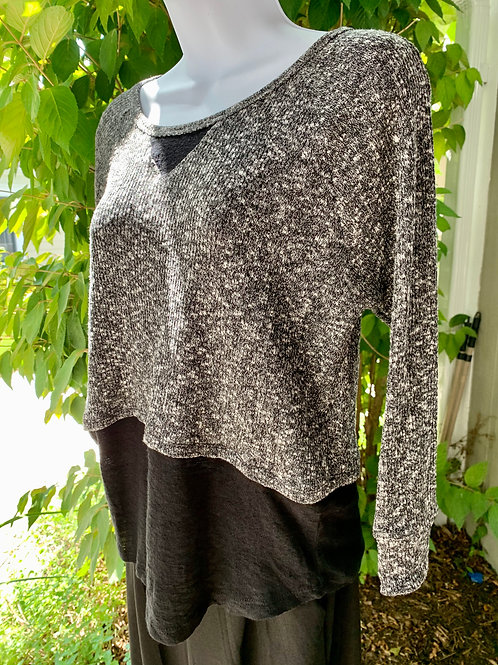 Two-Tone Sweater w/ Knitted Extension