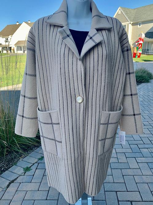 Stripe Square Pattern Coat