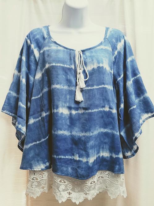 Tie dye print T/R w/Crochet Lace & Tassel