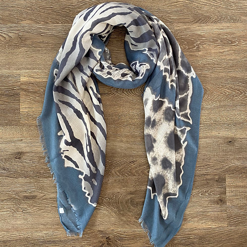 Animal Print Scarf (B-Blue)