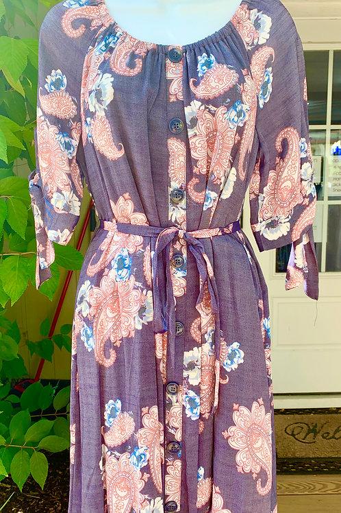 Printed TR Slub Dress