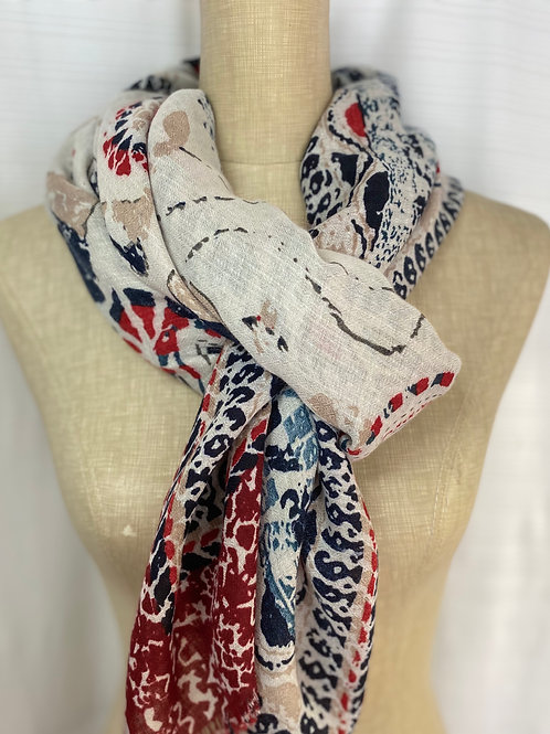 Printed Cotton Scarf     (G-Red)