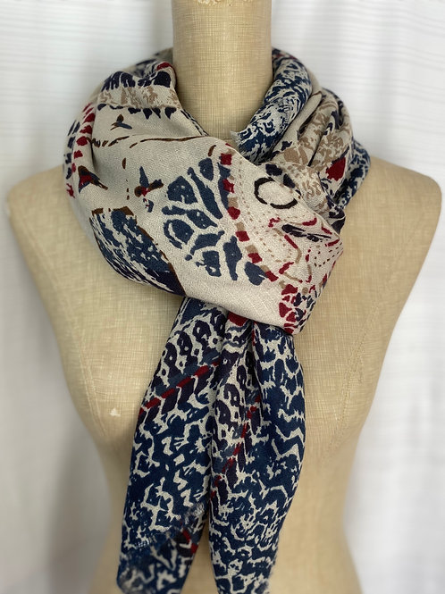 Printed Cotton Scarf (G-Blue)