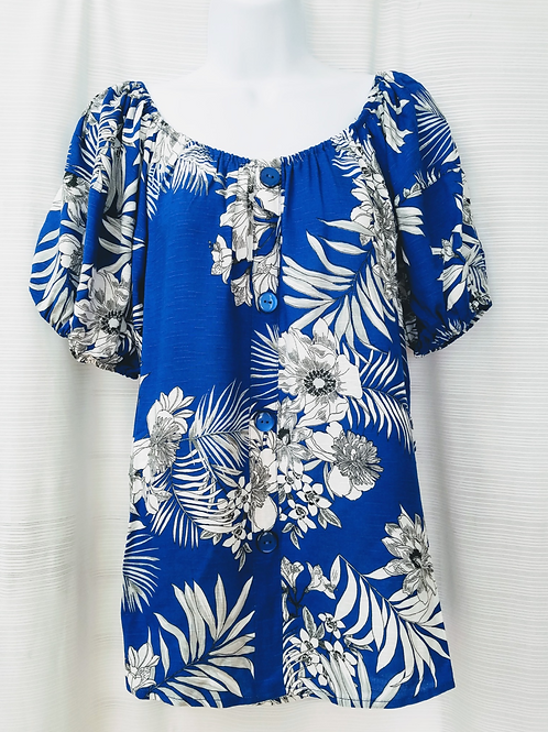 Printed Rayon Slub Top w/Puff Sleeves