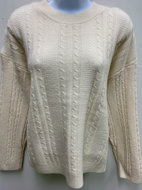 Solid Color Sweater w/ Knitted Pattern