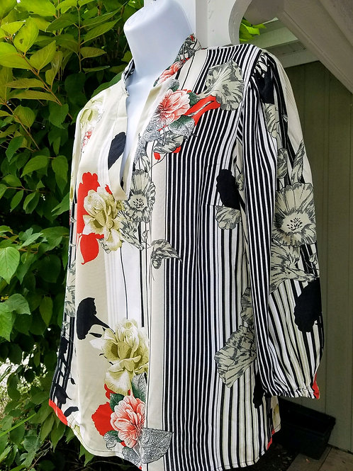 Printed Rayon Top w/ Lantern Sleeve