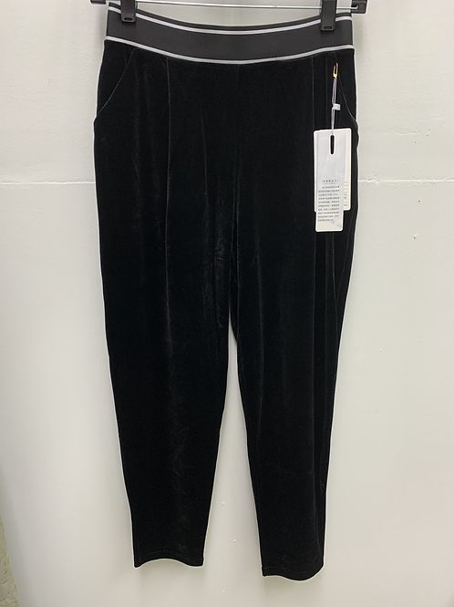 Velvet Black Pants w/ White Waistband