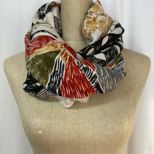 Leaf Print Scarf (F-Brown)