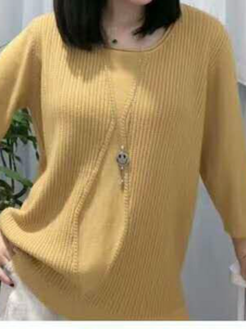 Scoop Neck Sweater Diamond Pattern