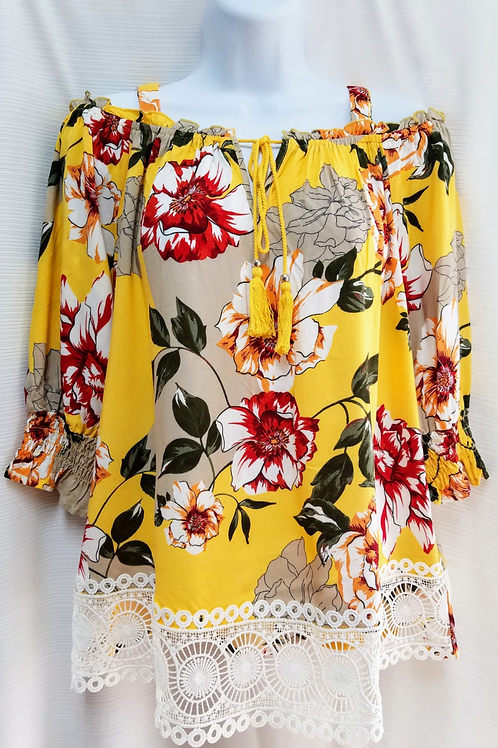 Floral Print W Lace - Yellow