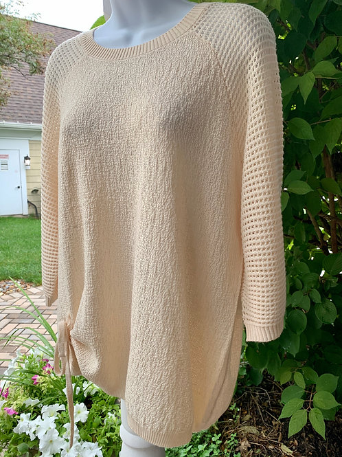 3/4 Sleeve Scoop Neck Solid Knit Sweater