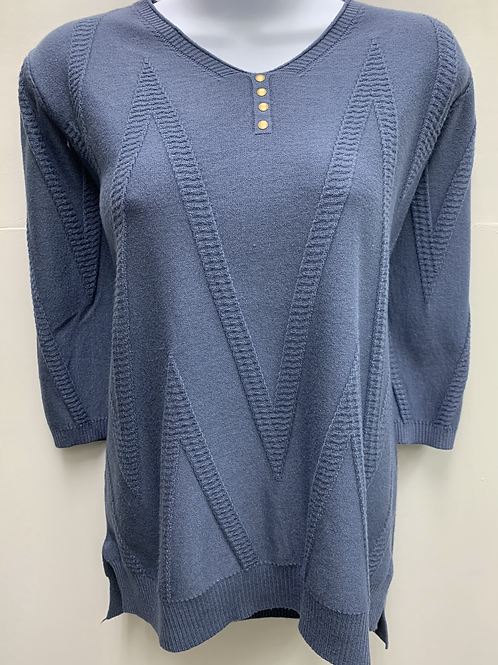 Scoop Neck Sweater with Zig-Zag Pattern