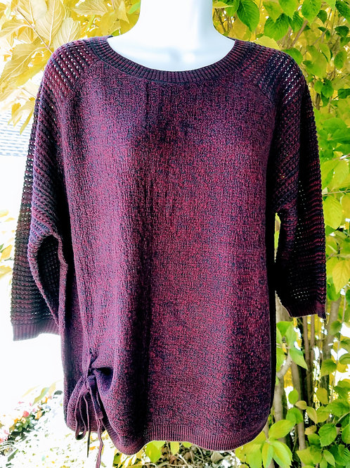 3/4 Sleeve Scoop Neck Mix Color Knit Sweater