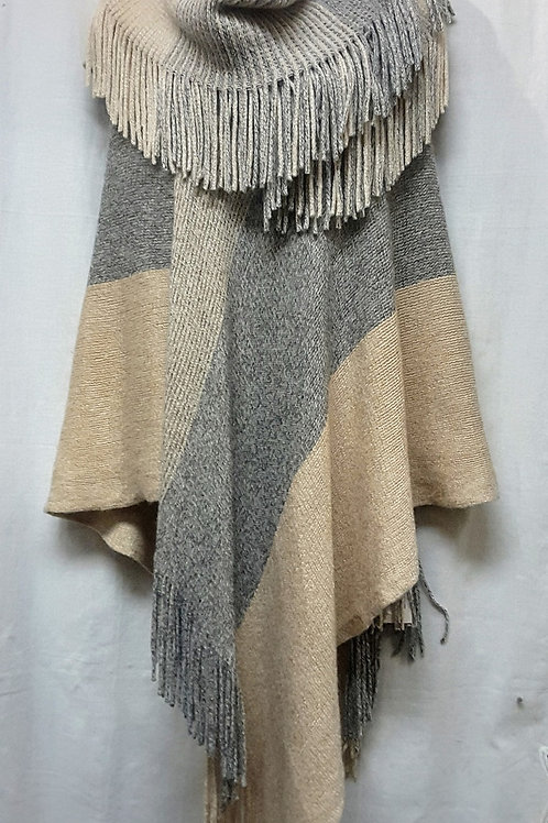 Fashion Poncho & Scarf 2 Pcs  Set