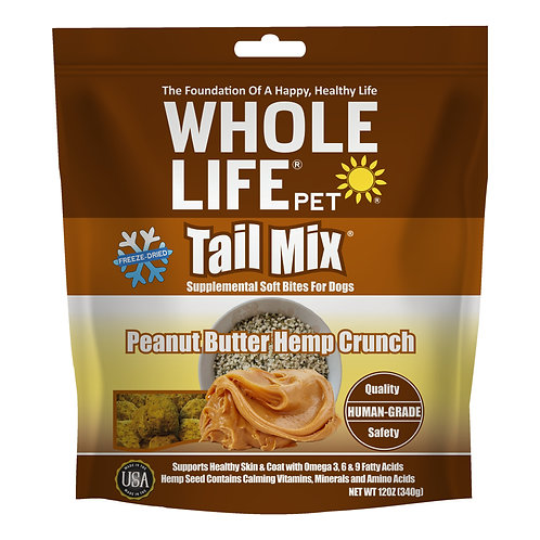 Tail Mix Peanut Butter Hemp Crunch Supplemental Soft Bites for Dogs, 12oz