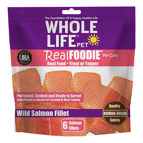 realFoodie Whole Boneless, Skinless, Wild Salmon Fillet for Cats, 6 Count