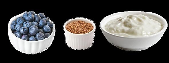 Whole Blueberries & Blackberries, Ground Flax Seed & Plain Greek Yogurt