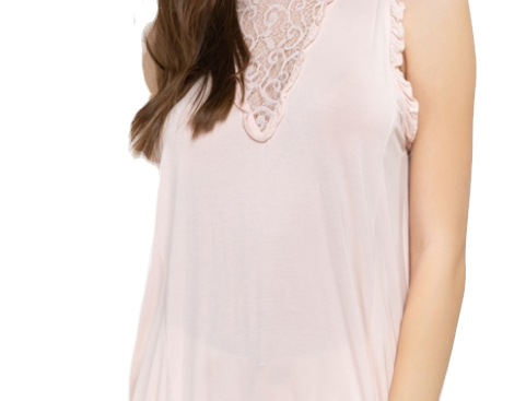 Rayon knit jersey top with lace