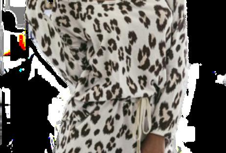 Leopard Print Long Sleeve Pajamas Set