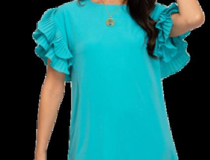 Pleated short sleeve woven shift dress