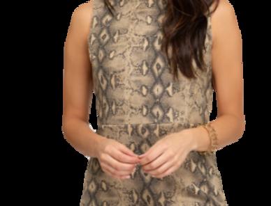 Faux suede snake skin print dress