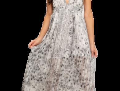Sleeveless woven printed maxi dress