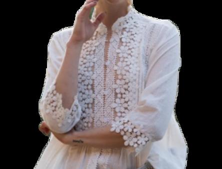 Floral mock neck blouse
