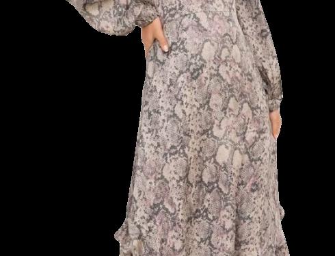Snake Ruffled Midi Dress