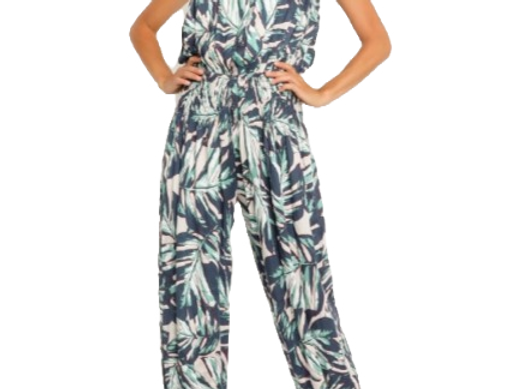 Teal Palm Strapless Jumpsuit