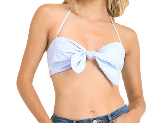 Cotton crop top with a knot-front closure and self tie halter neck