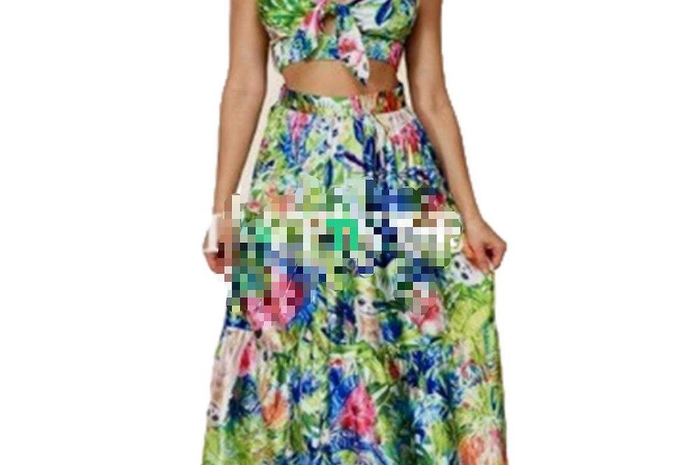 Tropical maxi skirt with crop top set