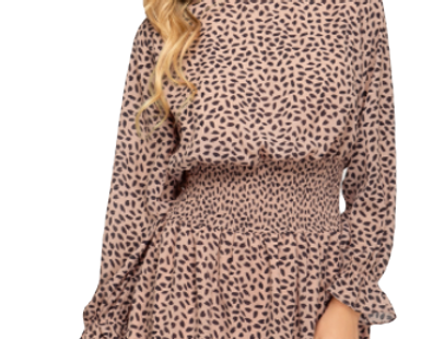 Long sleeve your chiffon printed woven dress