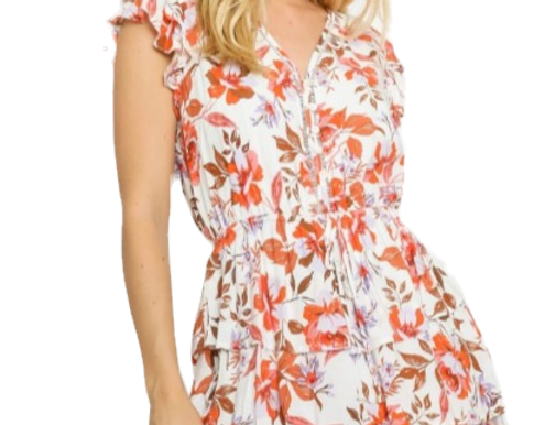 Orange Floral Ruffled Dress