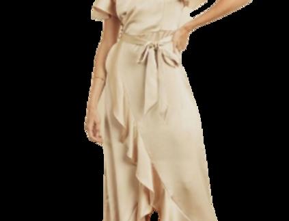 Satin ruffled maxi wrap dress