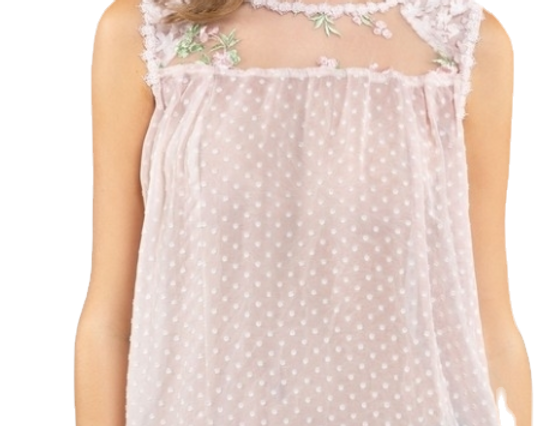 High-low sheer sleeveless floral top
