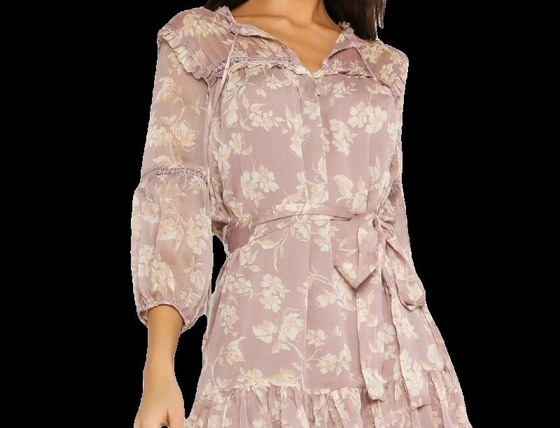 Mauve Floral Belted Dress