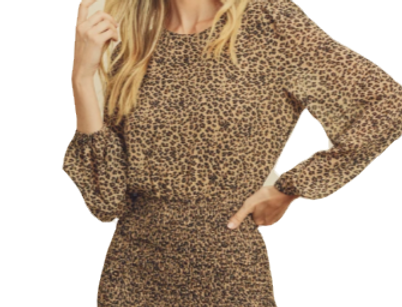 Cheetah print smocked dress