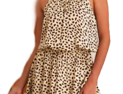 Animal print mock neckline halter dress