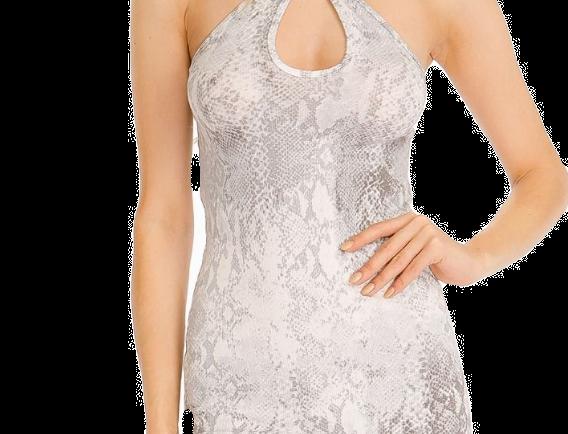 Grey Snake Halter Dress