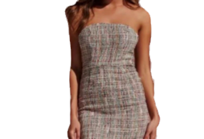 Strapless tweed mini dress