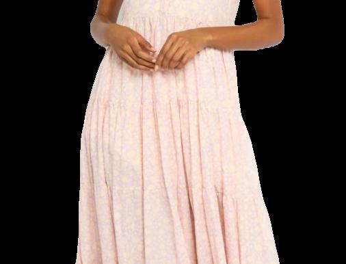 Blush Floral Midi Dress