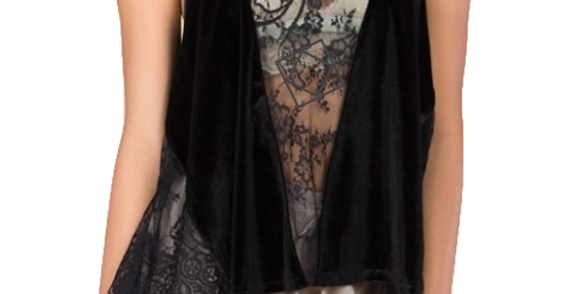 Front mesh lace paneled camisole velvet top