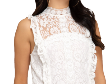 Lace crop top with lining and ruffled