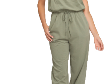 Tube knit jopper pants jumpsuit with pocketts
