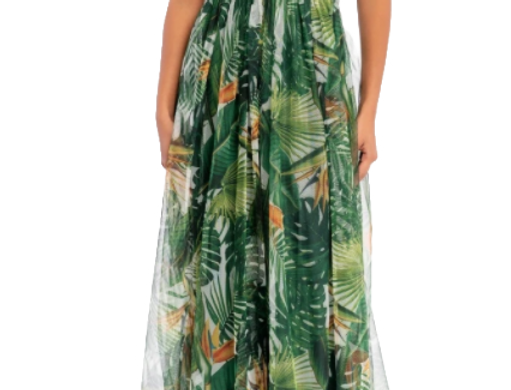 Green Palms maxi dress