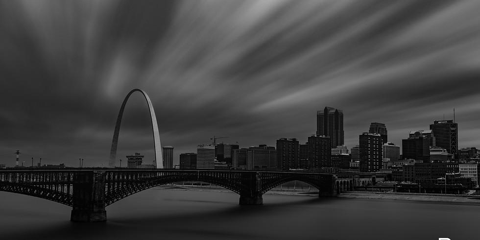 St. Louis Skyline at Sunset w/Jorge Restrepo & Stephen Weiss MLK Bridge