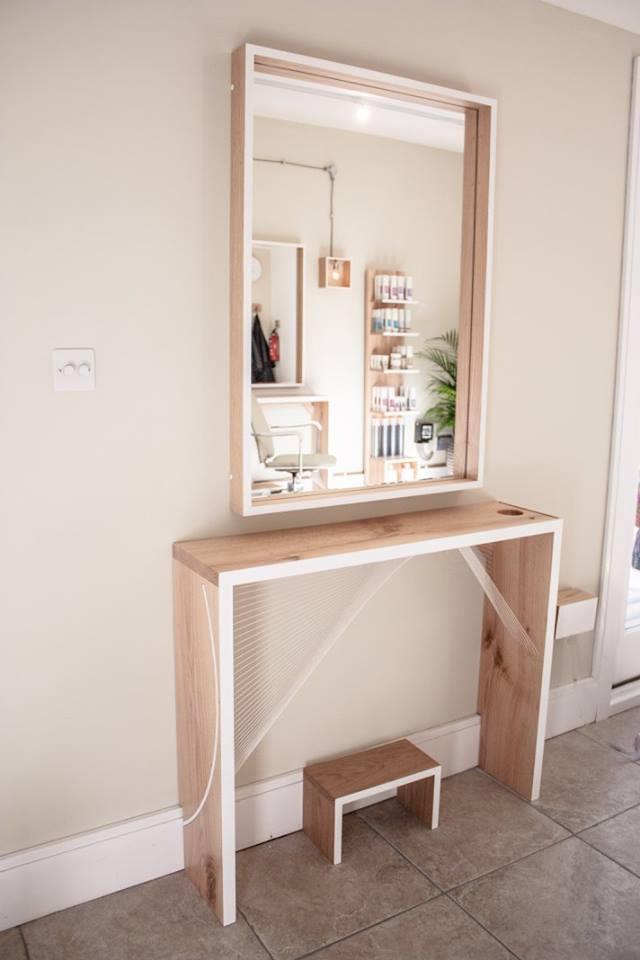 mirror and desk