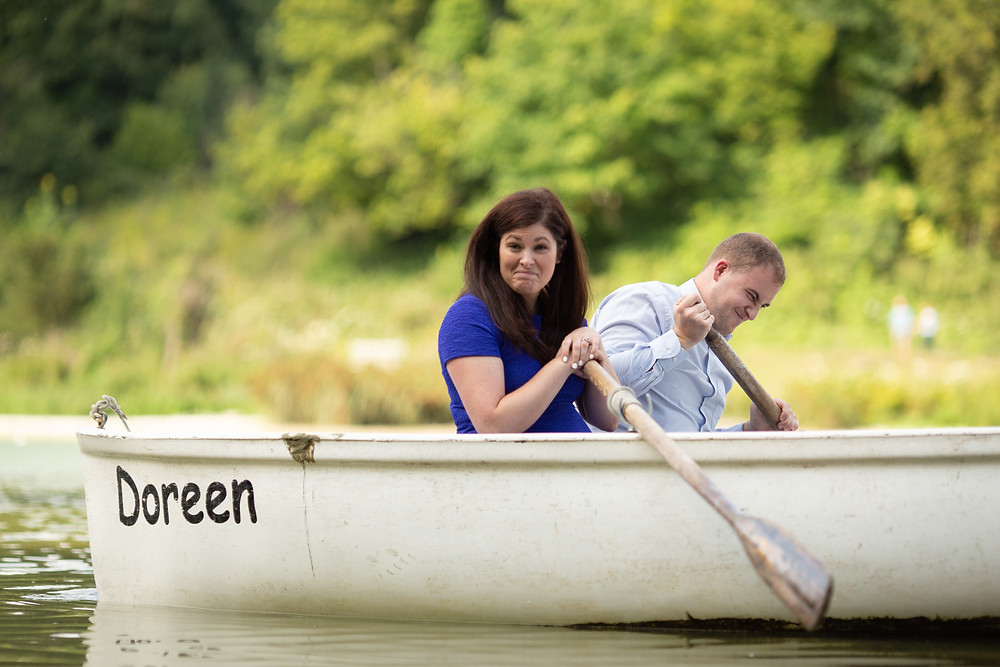 wedding couple on boat during west Sussex photoshoot